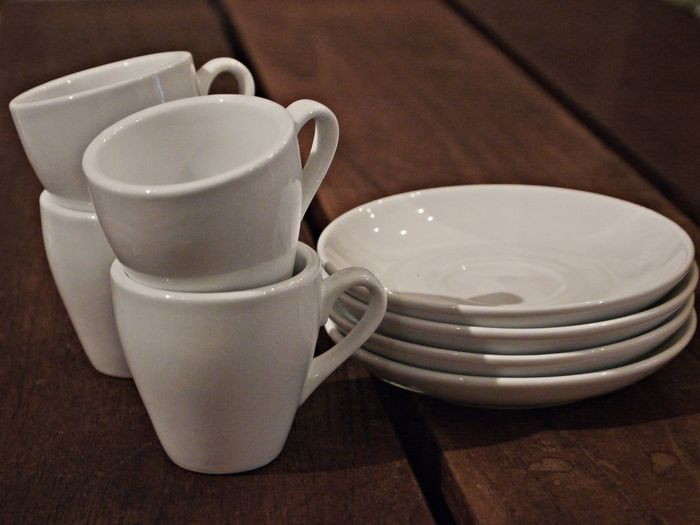 Close-up Day Desk Espresso Cups Espresso Saucer Indoors  No People Table White Color Wooden Desk Wooden Material