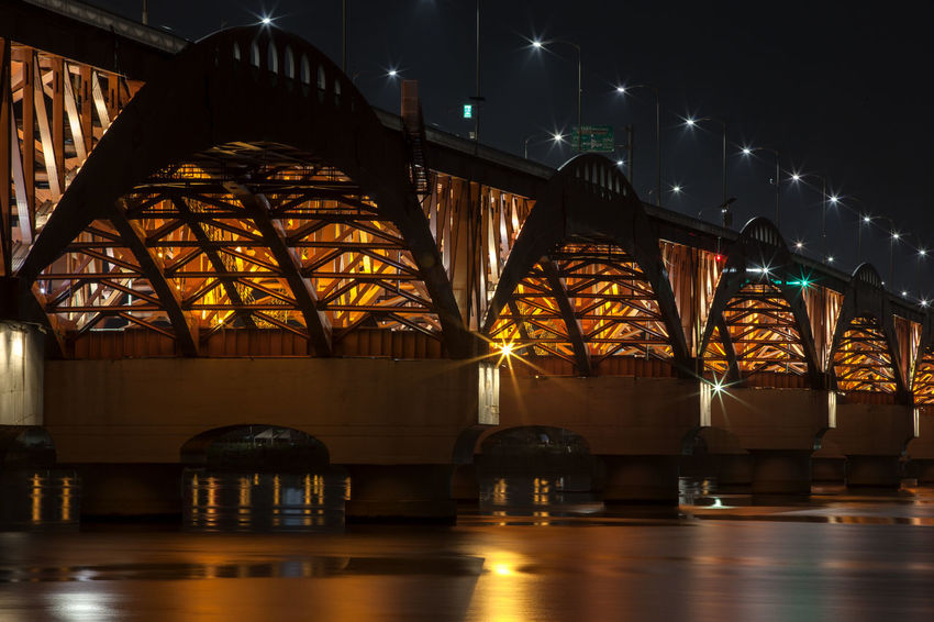 Architectural Column Architecture Bridge - Man Made Structure Built Structure City City Life Connection Engineering Han River Hangang Illuminated Modern Night Night View No People No People, Outdoors Seongsandaegyo Sky Tourism Tranquility Travel Destinations Water