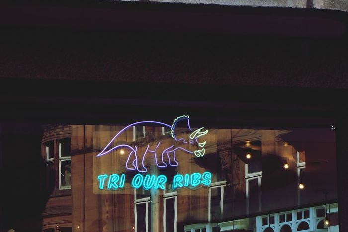 Neon No People London Travel Destinations Neon Lights Dinosaur Reflection Bar - Drink Establishment Postcode Postcards