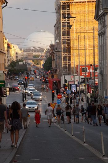Summerevening Söder Götgatan Ericsson Globe Architecture City Built Structure Crowd Group Of People Real People Street Transportation Men Women Road Walking Car City Life Lifestyles Building Exterior