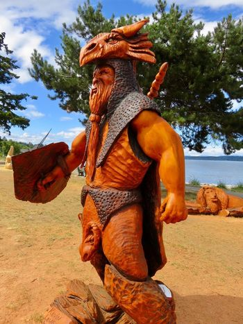 Chainsaw Wood carving 12898201 BC, Canada No People Beautiful Nature Chainsaw Carvings Oceanfront
