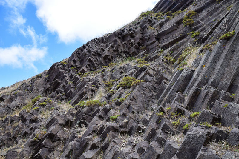 Porto Santo Portugal Basalt Basalt Columns Basalt Rock Beauty In Nature Close-up Day Geological Geological Formation Geology Low Angle View Mountain Nature No People Outdoors Porto Santo Island Rock - Object Rock Face Sky Textured  Volcanic  Volcanic Landscape Volcanic Rock Volcano