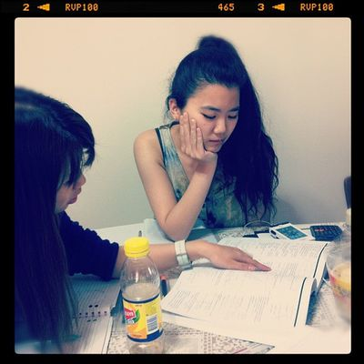 My friends @lana1205 and @tamsiksik when they are deep in thought while doing 4U. Whereas @wongt0n here laughing as she struggles with our 2U paper :( HSC Instastudy Instafood Mathematics tryinghard classof2012
