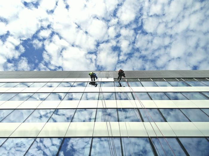 Clouds Mirror RISK Safety Harness Climbing Rope Office Building
