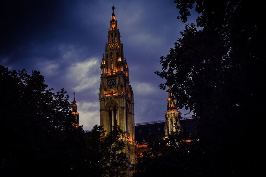 Wiener Rathaus Wien Building Exterior Architecture Built Structure Building Tower Sky Plant Night Low Angle View No People Illuminated Tree Cloud - Sky Clock Tower Travel Destinations Religion City Nature Tall - High Place Of Worship