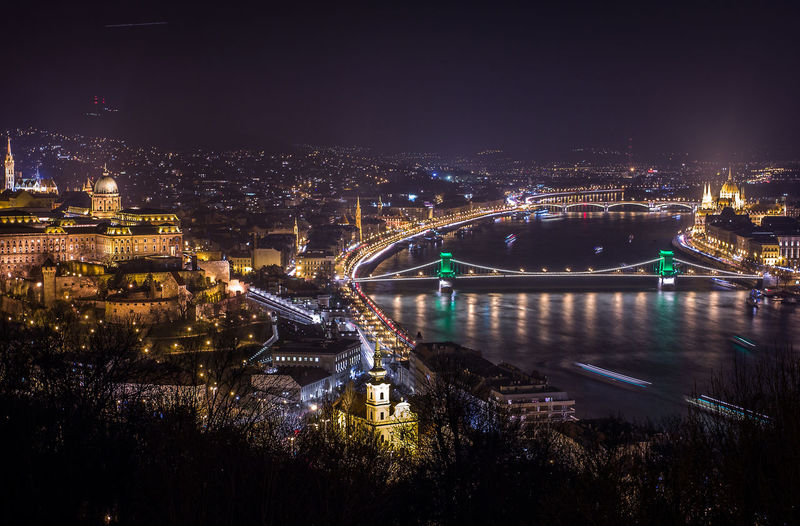 View of illuminated budapest city at night