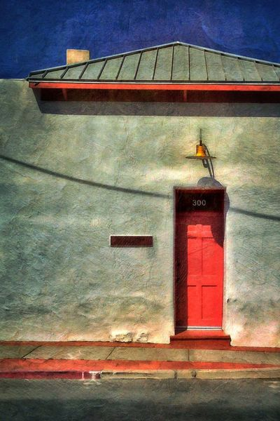 Red door, yellow lamp, blue sky...primary colors, adobe streetscape in the Barrio Viejo... Tucson Arizona Urban Geography NEM Painterly Painterly Wall Door Architecture IPS2015Paint http://iphonephotographyschool.com/painterly-images/
