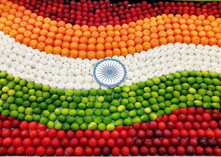 Indian flag made out of fruits and vegetables