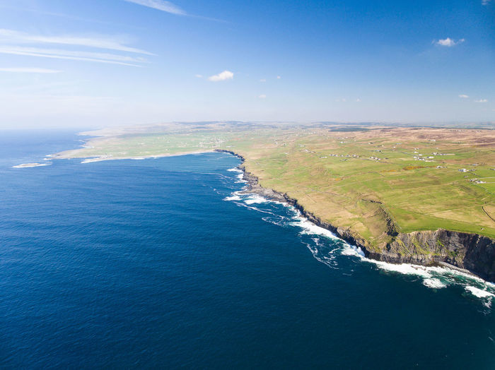 Aerial view of cliffs of moher against sky