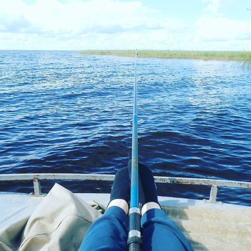 Fishing is the best way of reflection Lake Boat Rod Water Human Leg Sea Low Section Personal Perspective One Person Human Body Part Blue first eyeem photo