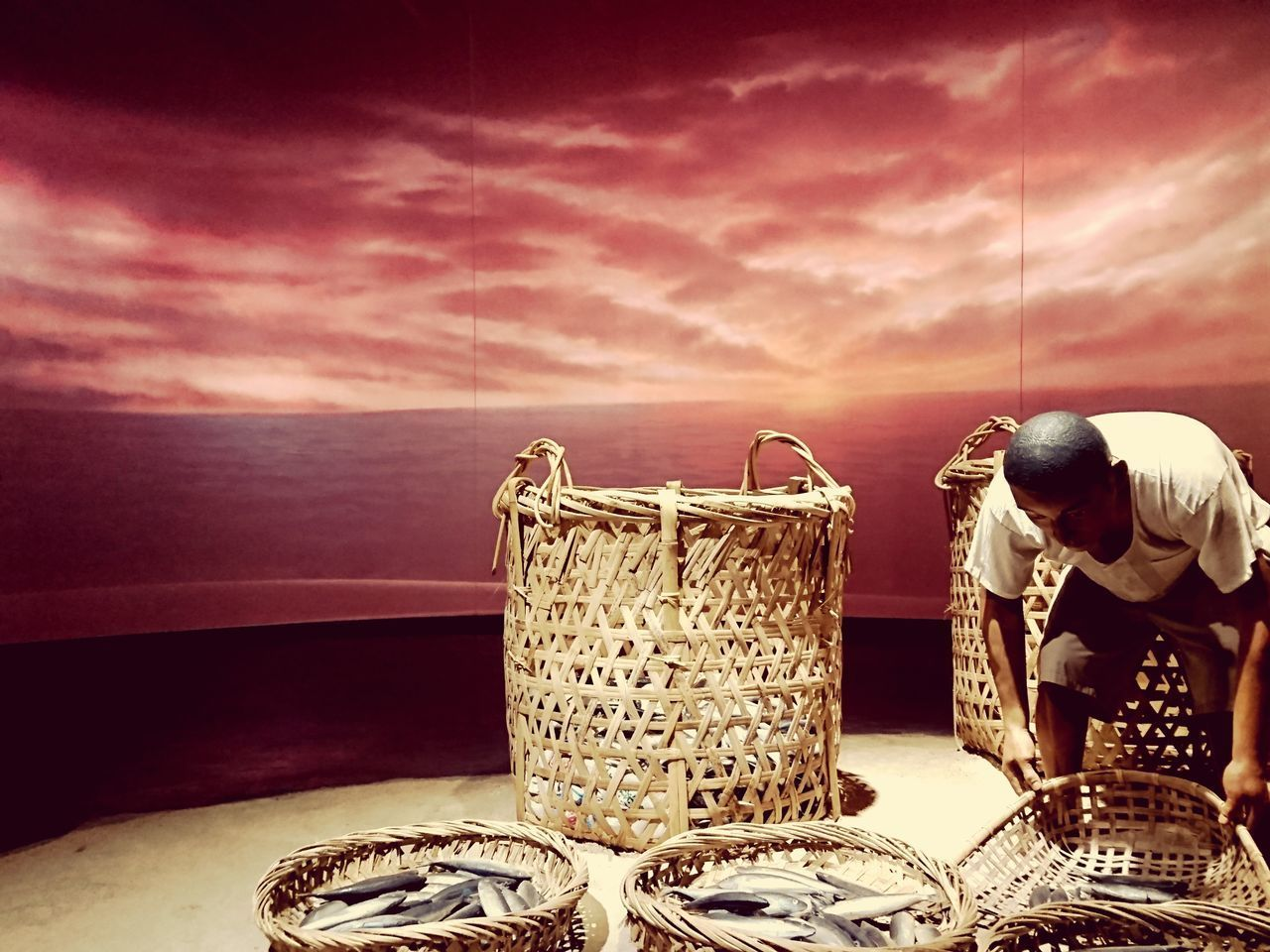 sea, basket, sky, cloud - sky, water, horizon, horizon over water, one person, occupation, real people, container, nature, sunset, holding, wicker, working, men, fishing, fishing industry, fisherman