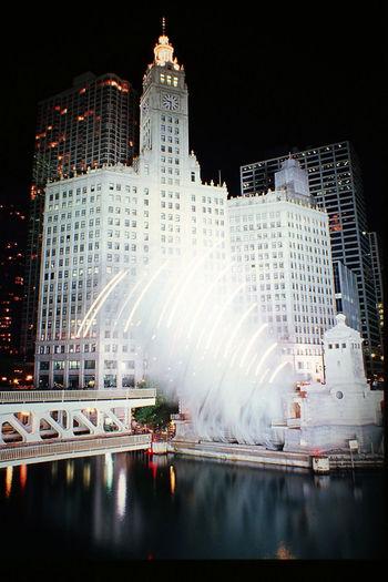 Architecture Building Exterior Built Structure Chicago Illinois City Illuminated Long Exposure Night Nightlights No People Outdoors Skyscraper Travel Destinations Urban Skyline USA Wrigley Building