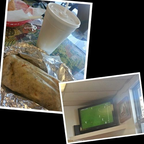 Watching the game, eating some good Mexican food and chit chattingwith my sissy! @erikajanine MyOpposite MyOlderButYoungerSister
