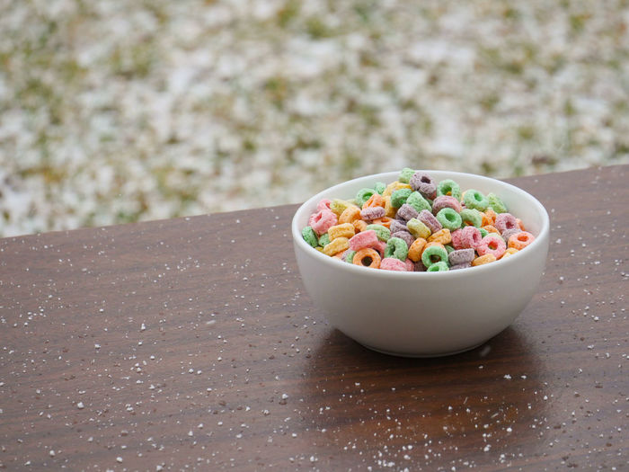 Close-up of colorful food in bowl on table