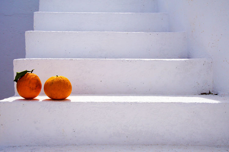 Close-Up Of Oranges On Steps