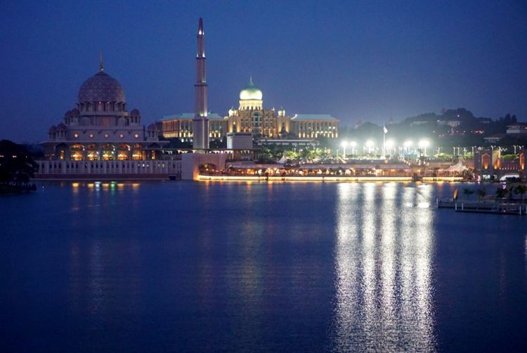 Illuminated Architecture Night Dome Building Exterior Water Religion Built Structure Waterfront Travel Destinations Reflection Place Of Worship Spirituality Outdoors River City Sky Clear Sky No People