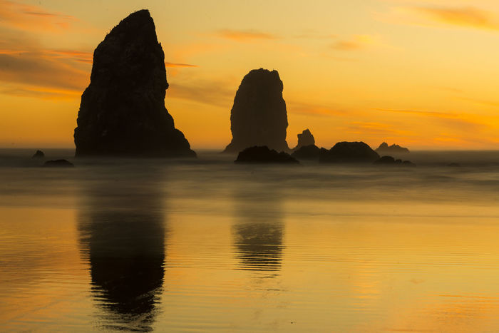 The Needles at sunset. Long exposure makes the wave misty and indistinct. Beauty In Nature Nature No People Rock - Object Rock Formation Scenics Sea Silhouette Sunset Tranquil Scene Tranquility Water Oregon Coast Oregon Explored Oregon Sunset Oregon Beauty
