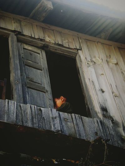 Innocence Kid Rural Village Wooden House Rural School One Person Shy India Jammu And Kashmir