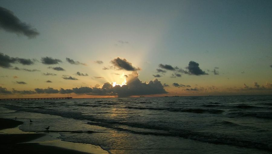 Sea Cloud Sun Tranquility Shore Seascape Beach Wave Nature Tranquil Scene