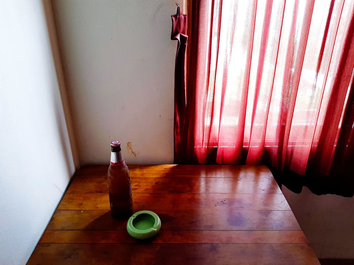 High angle view of empty wooden table at home