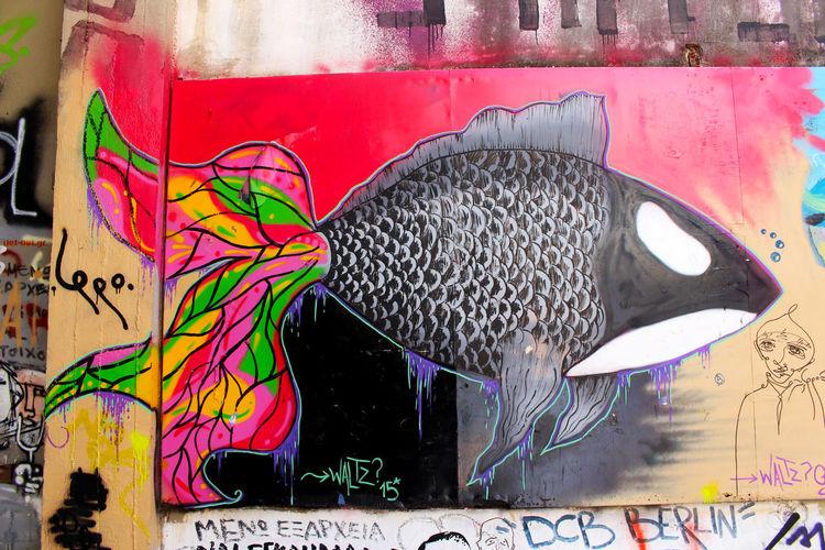 Art Athens Athens, Greece Blackfish Close-up Creativity Day Fish Graffiti Greece Multi Colored No People Street Art Street Art/Graffiti Streetart Streetphotography