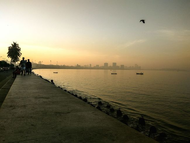 Silhouette Sky Flying Reflection Water Bird Cityscape Sunrise Morning View Walking Incidental People Outdoors Nature Beauty In Nature Marine Drive Crown Shape Travel Destinations Vacations City Of Dreams Line Of Light Flying Bird Boats Sailing
