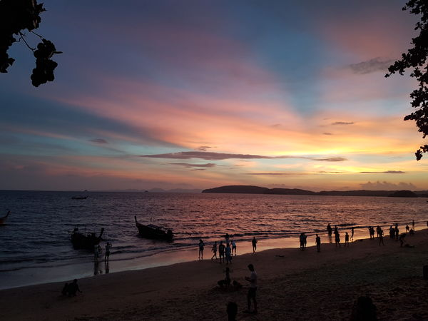 Sunset Ao Nang, Krabi Thailand Sunset Beach Water Horizon Over Water Nature Paradise Boats And Sea Sunset And Boat Travel Travelling Photography Travelling Thailand Sea