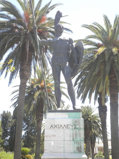 Achilles Colours Of Nature Corfu Flower Greece History Architecture Monument Nature Palm Trees Statue Stunning