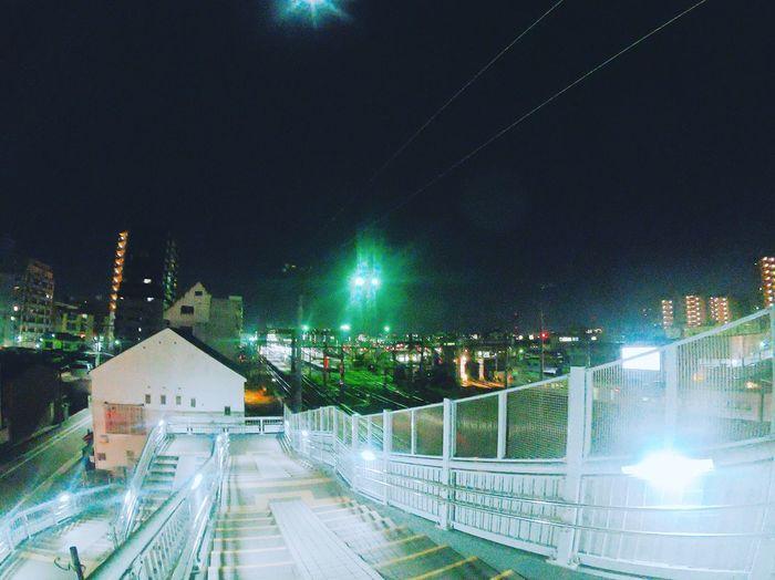 歩道橋 歩道橋 Night Illuminated Outdoors Architecture No People City Building Exterior