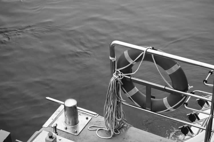 Black & White Black And White Cleat Contrast Day High Angle View Mode Of Transportation Monochrome Nature Nautical Vessel No People Outdoors Railing Rope Sea Sunlight Tied Up Transportation Travel Water