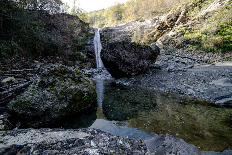 Tree Plant Water Beauty In Nature Scenics - Nature Nature No People Rock Flowing Water Outdoors Cascata Del Golfarone Villa Minozzo Waterfall Lake Landscape Wideangle Forset Power In Nature