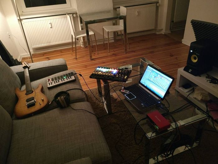 My favorite place to be... Ableton Desk Evening Guitar Headphones Indoors  Keyboard Laptop Music No People Sound Recording Equipment Studio Studio Monitors Technology