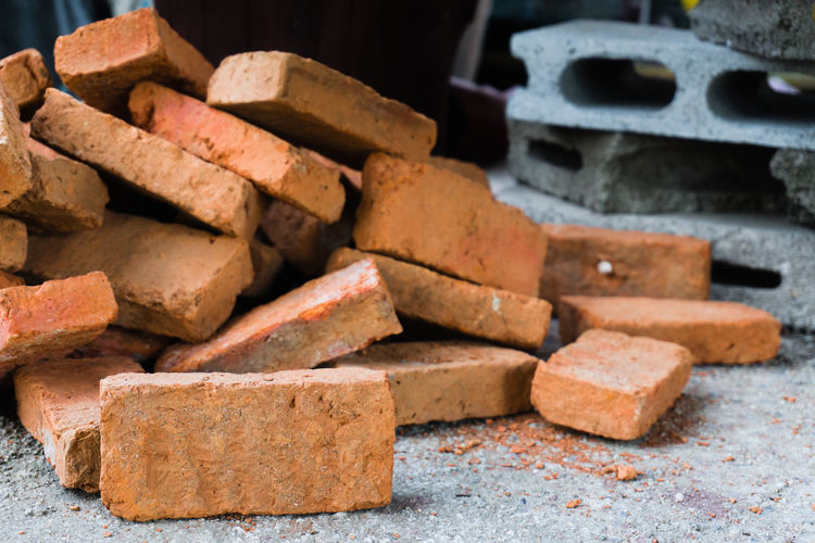 Abundance Brick Brown Close-up Concrete Construction Equipment Construction Industry Construction Material Construction Site Day Equipment Focus On Foreground Heap Indoors  Industry Large Group Of Objects No People Shape Stack Still Life