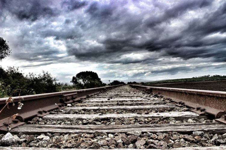 Railroad Track Transportation Sky Rail Transportation Cloud - Sky Outdoors Nature Day The Way Forward No People