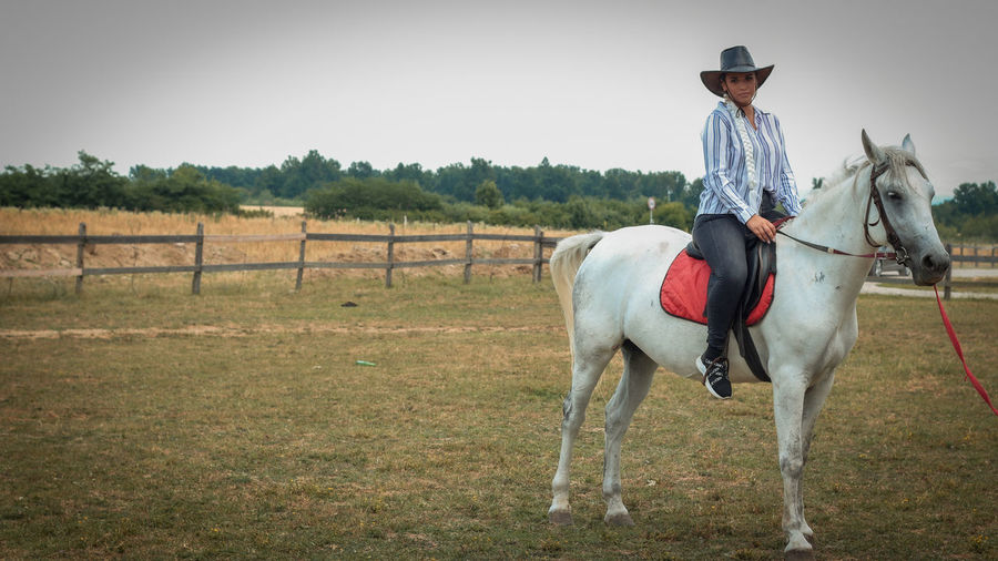 Man riding horse standing on field