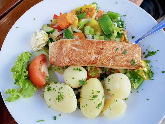Grilled salmon with potaoes and veggies Seafood Close-up Fish Food Food And Drink Freshness German Food Germany Healthy Healthy Eating High Angle View Meal Plate Ready-to-eat Salmon Table