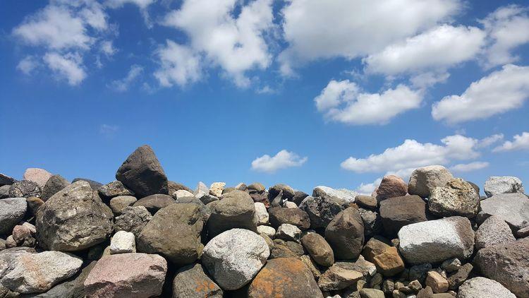 Boulders Rocks Blue Sky Clouds Nature