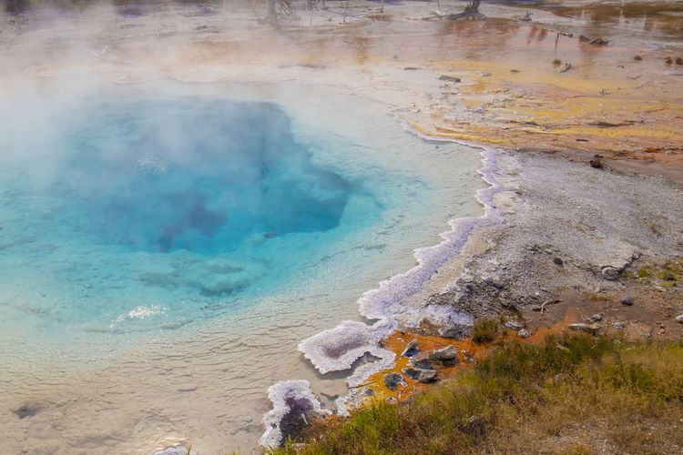 High Angle View Of Hot Spring At Yellowstone National Park