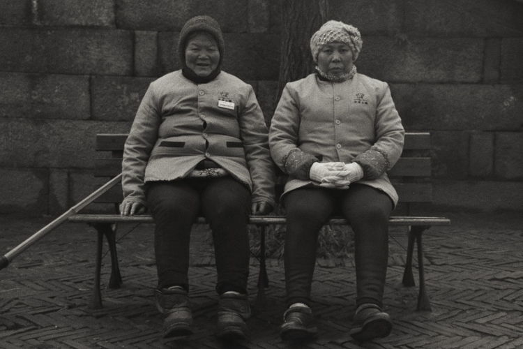 Portrait of friends sitting on seat