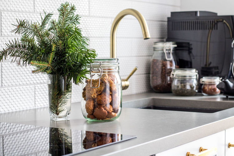 Close-up of cookie jar in kitchen