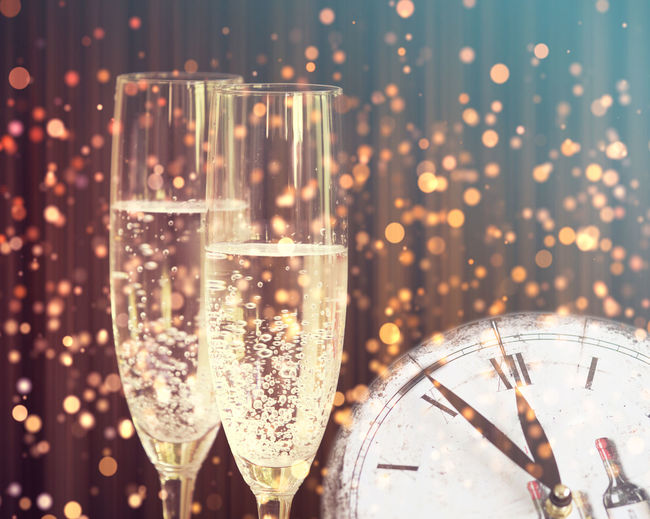 2018 Champagne Champagne Glasses Clock Happy New Year Midnight New Year Eve Vintage