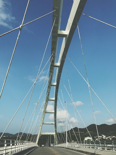 Japan Office Art Art Gallery Connection Bridge - Man Made Structure Engineering Suspension Bridge Transportation Cable Day Outdoors Built Structure Low Angle View Architecture No People Sky Blue Bridge