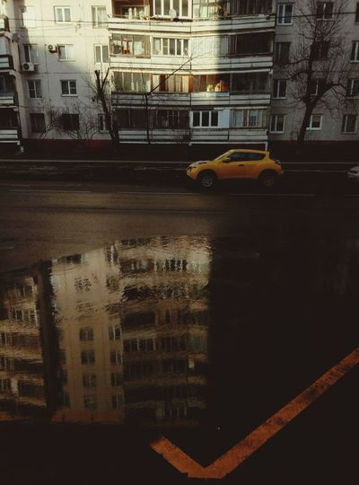 Built Structure Architecture Transportation City Building Exterior Outdoors Wet Water No People Day Spring Moscow Russia Yellow City Town Roud