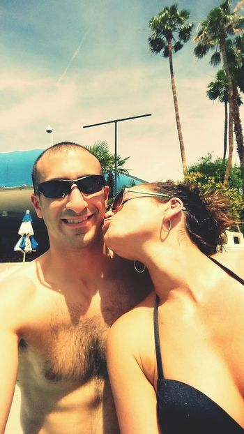 Love him Hanging Out HubbyTime Pool Las Vegas Love Kisses