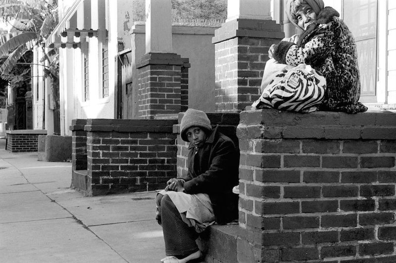 Two sisters. French quarter New Orleans. Vintage. 1979. Silver gelatin print. Outdoor City streets