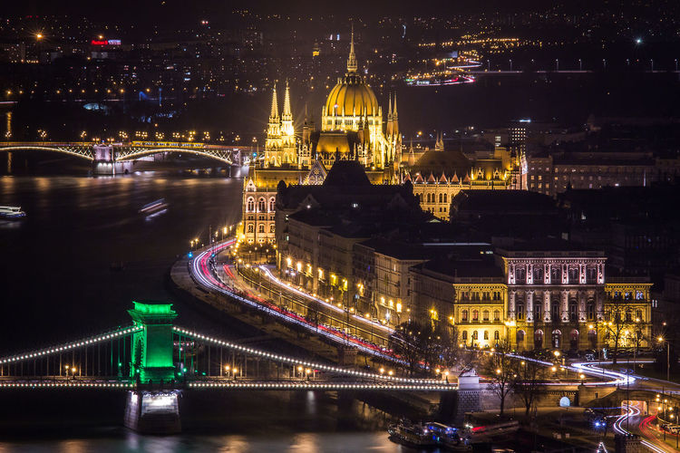 Illuminated budapest cityscape at night