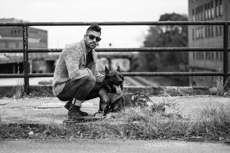 Man With Dog Outdoors