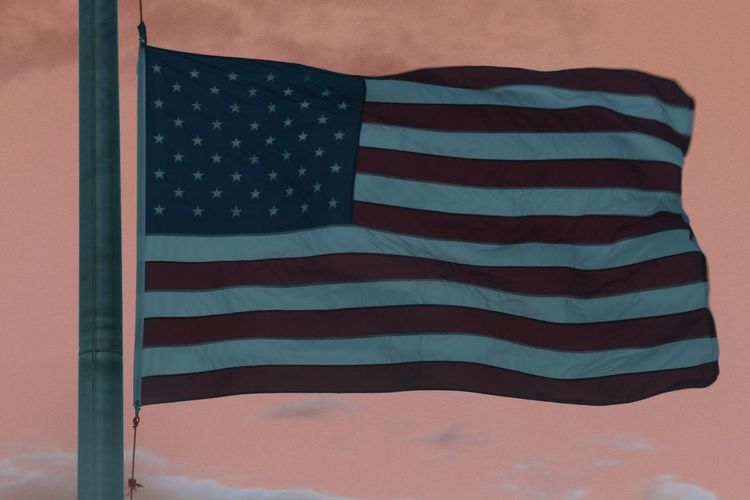 Patriotism Flag Cultures Striped Stars And Stripes Freedom Close-up No People National Icon Flag Pole Day Outdoors American Flag Colored Sky Roadtrip