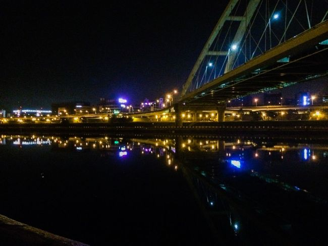 Reflection Night Lights Cityscapes Bridge