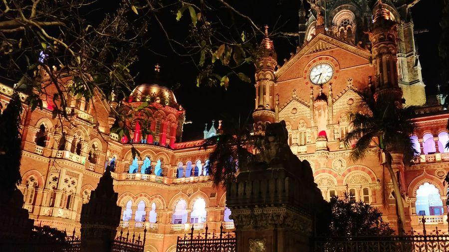 Illuminated Mumbai Victoria Terminus City Life Urbanexploration Outdoors Night